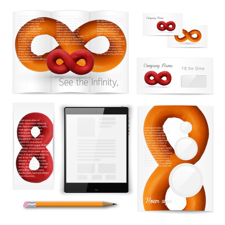 plasticine: Classic stationery template of brochure, booklet, flyer with sign of infinity loop. Documentation for business. Vector illustration. Illustration