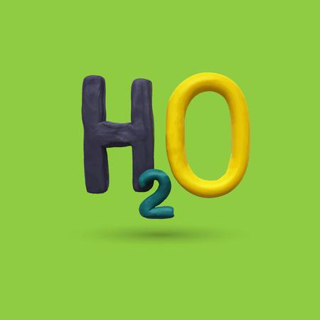 h2o: Formula of water H2O. Vector illustration. Plasticine modeling Illustration