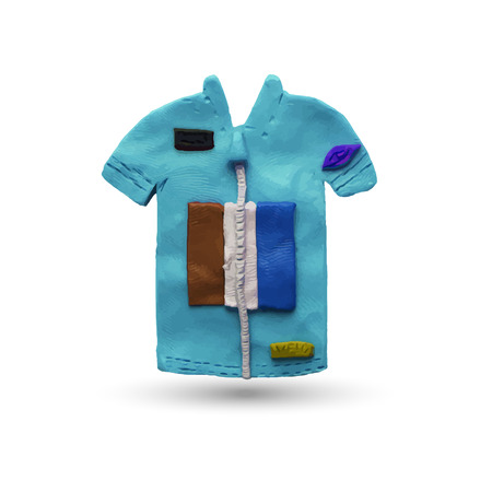 modeling: Blue Cycling Jersey. Vector illustration. Plasticine modeling