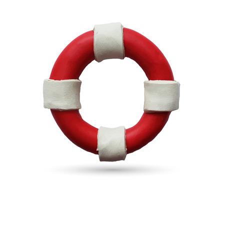lifeline: Red and white lifebuoy on white background. Vector illustration. Plasticine modeling.