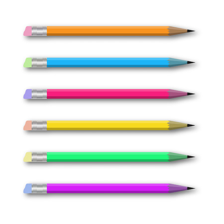 Vector realistic set of varicolored pencils on white background. Vector illustration. Vector