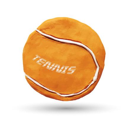 Realistic illustration of orange tennis ball, isolated on white background. Vector illustration. Plasticine modeling.