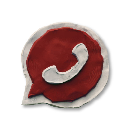 modeling: Red phone handset in speech bubble icon. Vector illustration. Plasticine modeling.