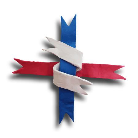 plaited: Cinta entrelazada, insignia o lote de 04 de julio D�a de la Independencia de Am�rica y otros eventos, aislados en blanco color de fondo. Ilustraci�n del vector. Modelado de plastilina.