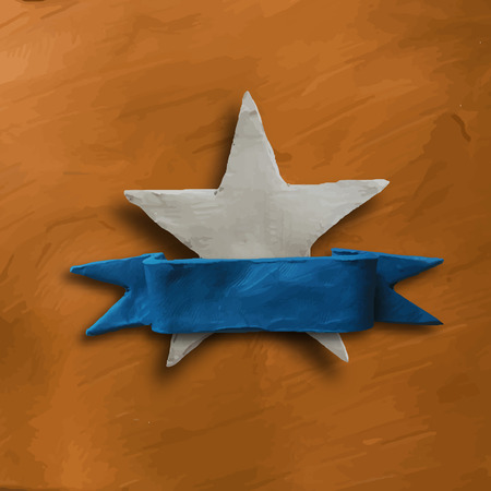gold star: Abstract white star on gold background with blue banner ribbon, for 4 July American Independence Day and other events. Vector illustration. Plasticine modeling.