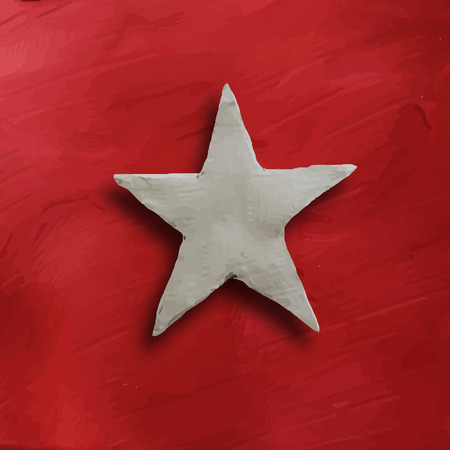 4 star: Abstract white star on red background, for 4 July American Independence Day and other events. Vector illustration. Plasticine modeling.