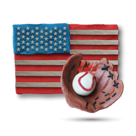 fastball: Baseball handmade glove and ball with US flag on background. Vector illustration. Plasticine modeling