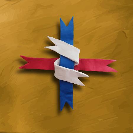 plaited: Cinta entrelazada, insignia o lote de 04 de julio D�a de la Independencia de Am�rica y otros eventos, aislado en el fondo de color oro. Ilustraci�n del vector. Modelado de plastilina.