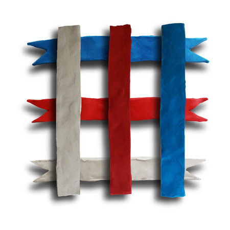 batch: Ribbon cross, badge or batch for 4 July American Independence Day and other events, isolated on white color background. Vector illustration. Plasticine modeling. Illustration