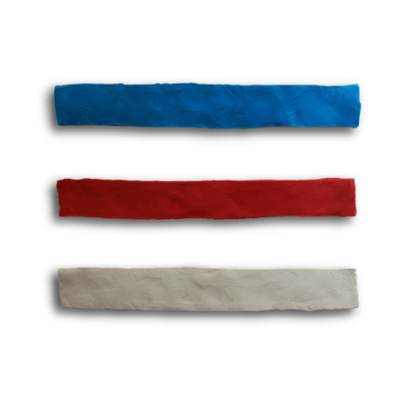 batch: Ribbon, badge or batch for 4 July American Independence Day and other events, isolated on white color background. Vector illustration. Plasticine modeling. Illustration