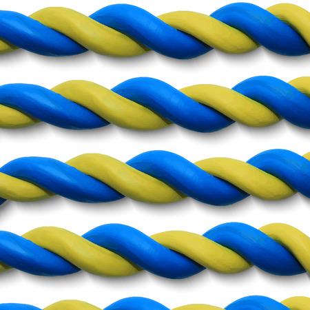 ukrainian flag: Blue yellow ropes as a Ukrainian flag. Vector illustration. Plasticine modeling. Illustration