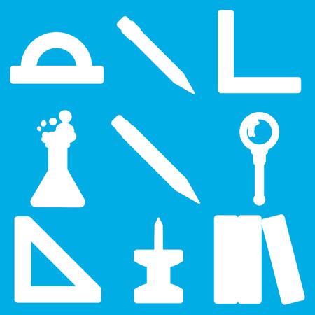 utiles escolares: Conjunto de siluetas blancas con efectos de escritorio y escolares bienes para su uso en el logotipo o diseño web. Ilustración vectorial moderno para tiendas web o aplicaciones móviles. Parte 3.