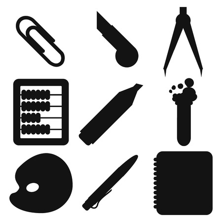 chancellery: Set of Black silhouettes with stationery and school goods for use in icon or web design. Modern vector illustration for web stores or mobile apps. Part 2.