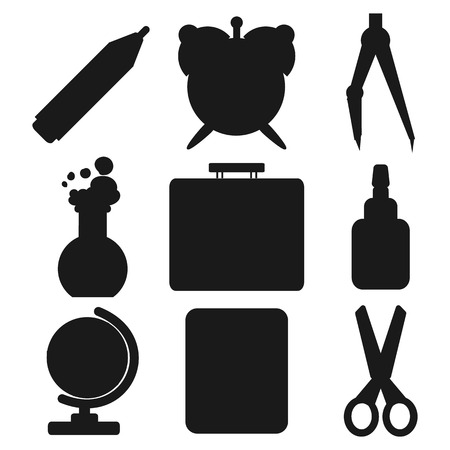 chancellery: Set of Black silhouettes with stationery and school goods for use in icon or web design. Often used for back to school design and stationery stores. Modern vector illustration for web stores or mobile apps. Part 1. Illustration