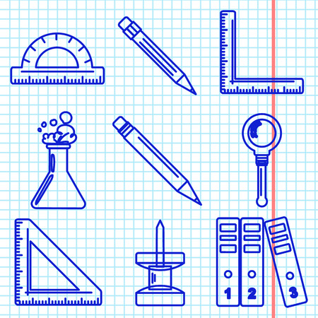 ballpen: Set of ink icons with stationery and school goods for use in icon or web design. like a ballpen ink drawing on exercise book sheet. Can be used for back to school design and stationery stores. Modern vector illustration for web stores or mobile apps. Part