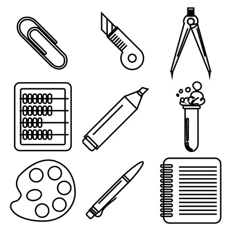 palette knife: Set of black ink icons with stationery and school goods for use in icon or web design. Can be used for back to school design and stationery stores. Modern vector illustration for web stores or mobile apps. Part 2. Illustration