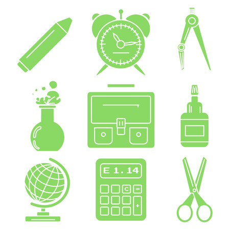 Set of green linear icons with stationery and school goods for use in icon or web design. Can be used for back to school design and stationery stores. Modern vector illustration for web stores or mobile apps. Part 1.