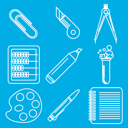 Set of white chalk icons with stationery and school goods for use in icon or web design. Can be used for back to school design and stationery stores. Modern vector illustration for web stores or mobile apps. Part 2. Illustration