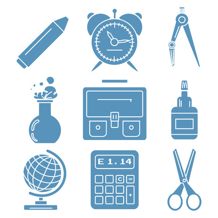 chancellery: Set of light blue linear icons with stationery and school goods for use in icon or web design. Can be used for back to school design and stationery stores. Modern vector illustration for web stores or mobile apps. Part 1.