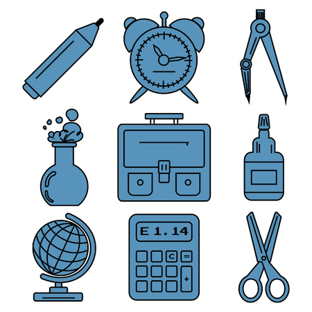 chancellery: Set of linear icons with stationery and school goods for use in icon or web design. Can be used for back to school design and stationery stores. Modern vector illustration for web stores or mobile apps. Part 1.