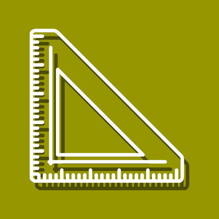chancellery: Linear icon of triangular ruler for use in icon or web design. Often used for back to school design, stationery stores. Modern vector illustration for web store and mobile app.