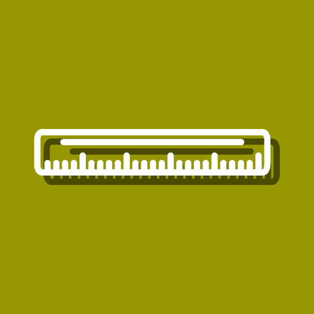 chancellery: Linear icon of ruler for use in icon or web design. Often used for back to school design, stationery stores. Modern vector illustration for web store and mobile app. Illustration