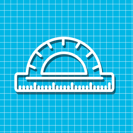 chancellery: Linear icon of protractor for use in icon or web design. Often used for back to school design, stationery stores. Modern vector illustration for web store and mobile app. Illustration