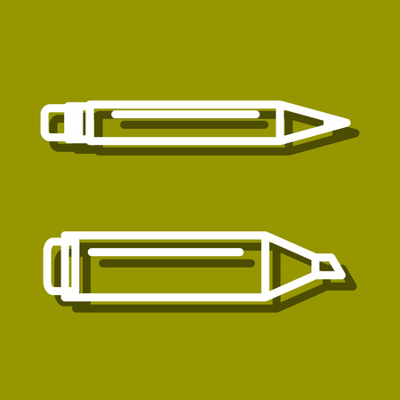 ball point: Linear icon of Permanent marker and ball point pen for use in icon or web design. Often used for back to school design, stationery stores. Modern vector illustration for web store and mobile app. Illustration