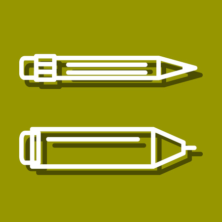 chancellery: Linear icon of permanent marker and pencil for use in icon or web design. Often used for back to school design, stationery stores. Modern vector illustration for web store and mobile app. Illustration