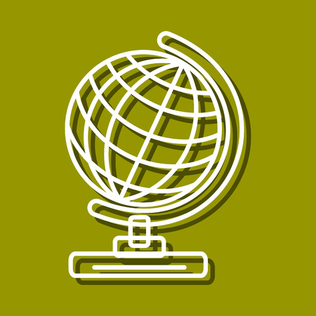 chancellery: Linear icon of globe for use in icon or web design. Often used for back to school design, stationery stores. Modern vector illustration for web store and mobile app.