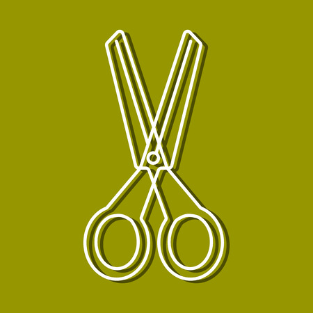 chancellery: Linear icon of scissor for use in icon or web design. Often used for back to school design, stationery stores. Modern vector illustration for web store and mobile app.