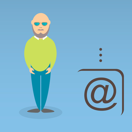 Character of elderly professor. Can be used for infographic, school book design, magazines and web design. Vector illustration. In flat design. Pose 6.