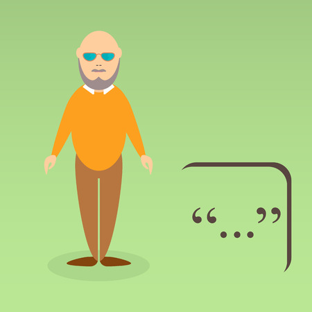 greybeard: Character of elderly professor. Can be used for infographic, school book design, magazines and web design. Vector illustration. In flat design. Pose 5.