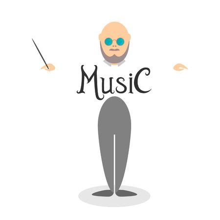 greybeard: Personaggio dei cartoni animati del conduttore musicista con bacchetta in smoking. Illustrazione vettoriale. Nel design piatto.