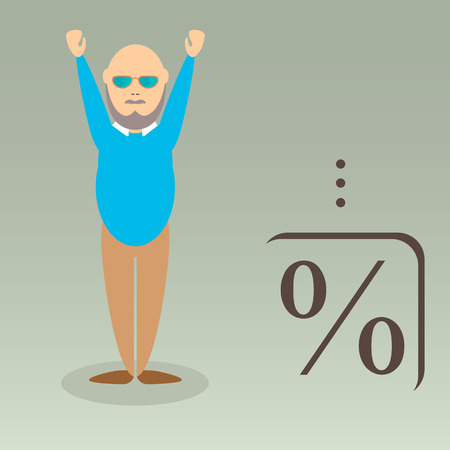 Character of elderly professor. Can be used for infographic, school book design, magazines and web design. Vector illustration. In flat design. Pose 2.