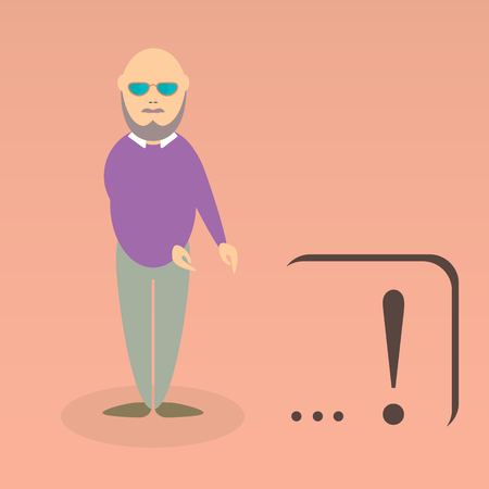 greybeard: Character of elderly professor. Can be used for infographic, school book design, magazines and web design. Vector illustration. In flat design. Pose 3.