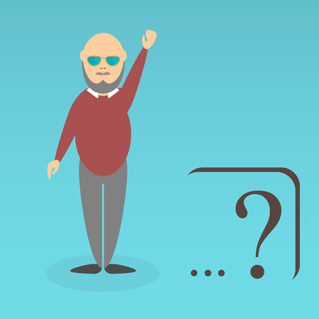 subconscious: Character of elderly professor. Can be used for infographic, school book design, magazines and web design. Vector illustration. In flat design. Pose 4.