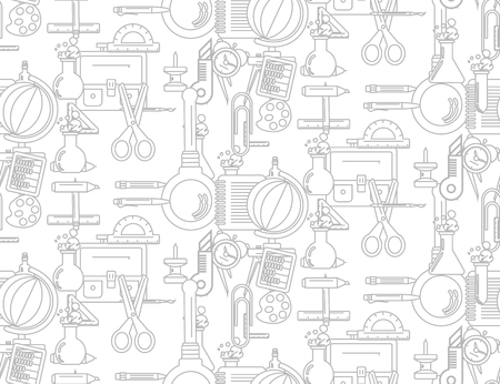 old wallpaper: Vector illustration of school supplies in the seamless texture. It can be used as packaging design and decoration magazine articles.