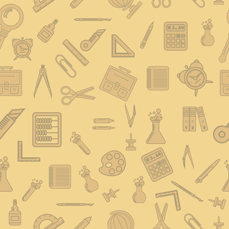 articles: Vector illustration of school supplies in the seamless texture. It can be used as packaging design and decoration magazine articles.