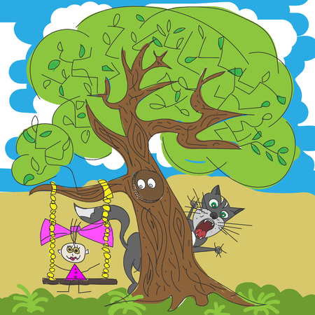 swinging: Illustration of a girl and cat under tree. Girl swinging on a swing. Cartoon drawing. Vector illustration.
