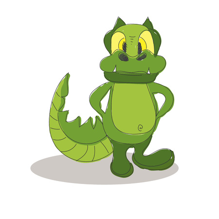 timid: Funny crocodile with yellow eyes cartoon posing. Can be used for t-short design.  Isolated on white background. Vector illustration.
