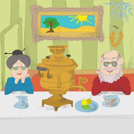 five o'clock: The Russian tea party, tea ceremony with russian samovar.  Grandfather and grandmother drink tea at the table in the dining room. Hand drawn vector illustration.