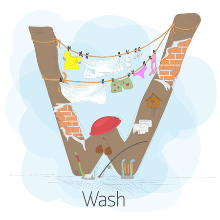 backyard: Alphabetical stylized letter W with clotheslines. The figure shows how to dry clothes in the backyard. There is also a bowl, sled, boxing gloves, stick, birdhouse. Hand drawn vector illustration.