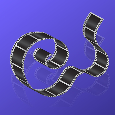 35mm film motion picture camera: Cine-film on a gradient background with reflection. Vector illustration. Illustration