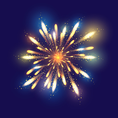 fireworks show: Fireworks illustration, dark background with firework show. Festive, bright firework for collage and design brochures, poster, wrapping paper, greeting card. Isolated salute for design. Festive fireworks. Vector illustration.