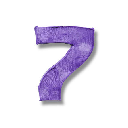 numeral: Illustration of realistic finger textured plasticine signboard number 7 seven. Part of numeral set. Stock Photo