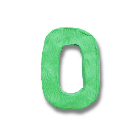 numeral: Illustration of realistic finger textured plasticine signboard number 0 zero. Part of numeral set.