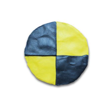 dummies: Crash test dummies yellow black symbol. Isolated on white background. Plasticine modeling.