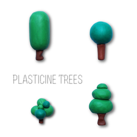 Color children's tree plasticine on a white background. For use in your design.