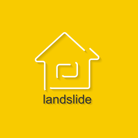 landslide: Flat linear illustration on yellow background with black text of landslide. Isolated vector illustration for use in web and apps design Illustration